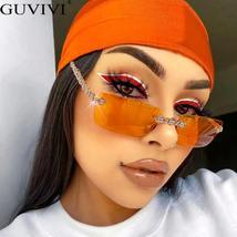 Rimless Diamond Sunglasses Women  Rectangle Steampunk Sun Glasses Crystal Vintag