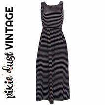 Striped Midi Dress Vintage 90s Stripes Nautical Pockets Mididress Size S... - $41.34