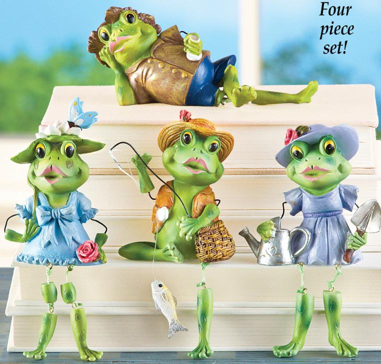 Set of 4 Frog Dangling Leg Sitters