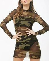 Forever 21 Transparent Mesh Camouflage Print Sexy Long Sleeved Dress Collar M image 4