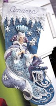 Bucilla Snow Queen Frozen Princess Sleigh Ice Christmas Felt Stocking Kit 86109 - $324.95