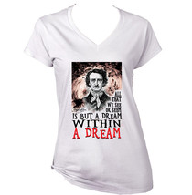 Edgar Allan Poe Within A Dream - New White Cotton Lady Tshirt - $23.59