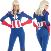 Captivating Captain America Costume Jumpsuit Gloves Stars Stripes Catsuit BW1667 - $45.49