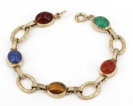 """Vintage 7"""" Gold-Filled Multi-Gemstone Cabochon Oval Link Bracelet - $19.99"""
