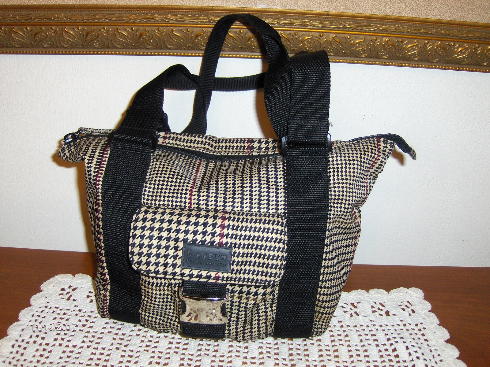 Lauren Ralph Lauren Satchel Black Beige and 38 similar items 945cd04387226