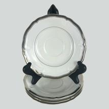 Four Mikasa Hyde Park Platinum Rim Saucers Fine China Dinnerware White 6... - $18.46