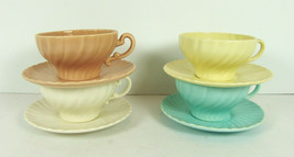Lot 4 Franciscan Coronado Cups & Saucers Vintage Matte Satin Mixed Colors Swirl - $24.74