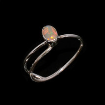 NATURAL ETHIOPIAN FIRE OPAL 5*4 MM OVAL 925 STERLING SILVER 6 US RING - £14.66 GBP