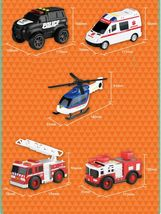 Think Toys City Emergency Rescue Manual Pull Back Special Car Vehicle Toy Set image 3