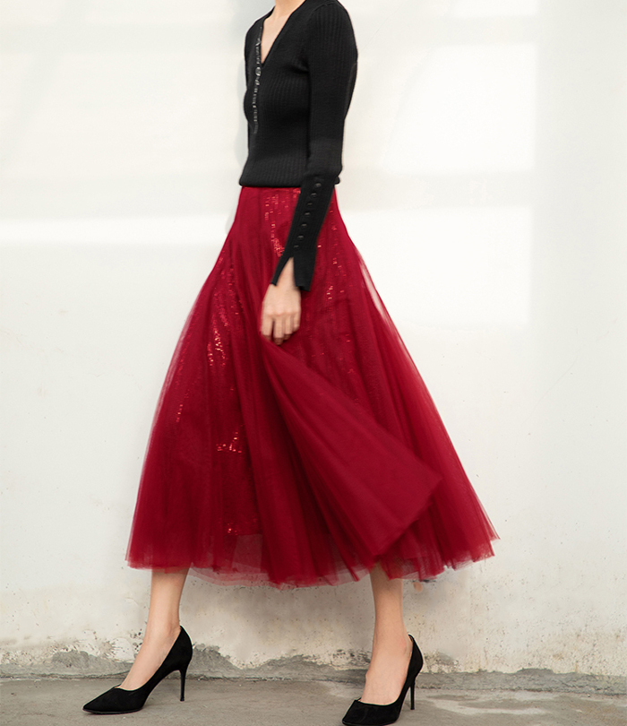 Wine Red Long Tulle Sequin Skirt High Waisted Red Christmas Holiday Skirt Outfit