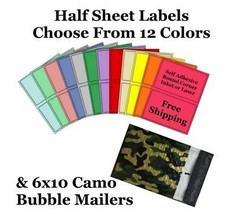 6x10 ( Camo ) Poly Bubble Mailers + Half Sheet Self Adhesive Shipping La... - $1.99+