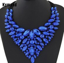Kymyad Big Women Collier Femme Necklaces Pendant Blue Red Statement  - $24.00