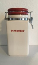 2008 STARBUCKS COFFEE WHITE CERAMIC w/ RED SNOWFLAKE LID CANISTER - 27 OZ.  - $19.79