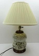 "Vintage Mid Century Modern Retro 70's Ceramic & Wood Table Lamp + Shade 20"" - $125.00"