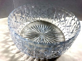 VTG Contemporary Large Clear crystal bowl Olive pattern 9.75 x 4.25 - $95.04