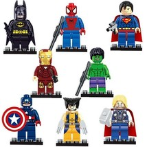 8pcs Marvel Avengers Super Heroes Superman Batman Wolverine Minifigures ... - $12.99