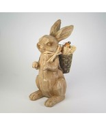 Faux Wood Carved Rabbit Figurine with Backpack of Carrots Tabletop Decor... - $16.79
