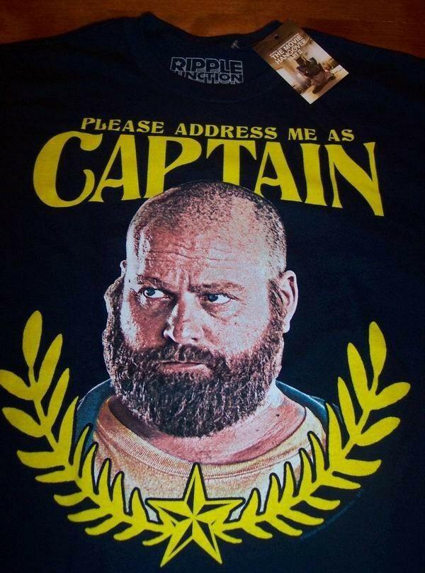 THE HANGOVER 2 ZACH GALIFIANAKIS CAPTAIN T-Shirt MEDIUM NEW w/ tag