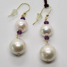 Yellow Gold Earrings 18k 750 pearls freshwater and Amethysts Made in Italy image 1