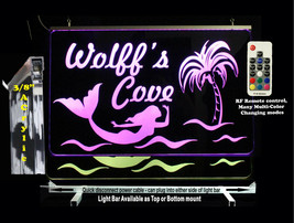 Mermaid, Personalized LED Man Cave Sign with Palm Tree, Garage Sign, Bar... - $96.03+