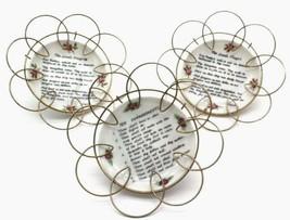 "3 MID CENTURY MODERN METAL WALL ART HANGINGS Prayer Plates 4""D - $44.99"