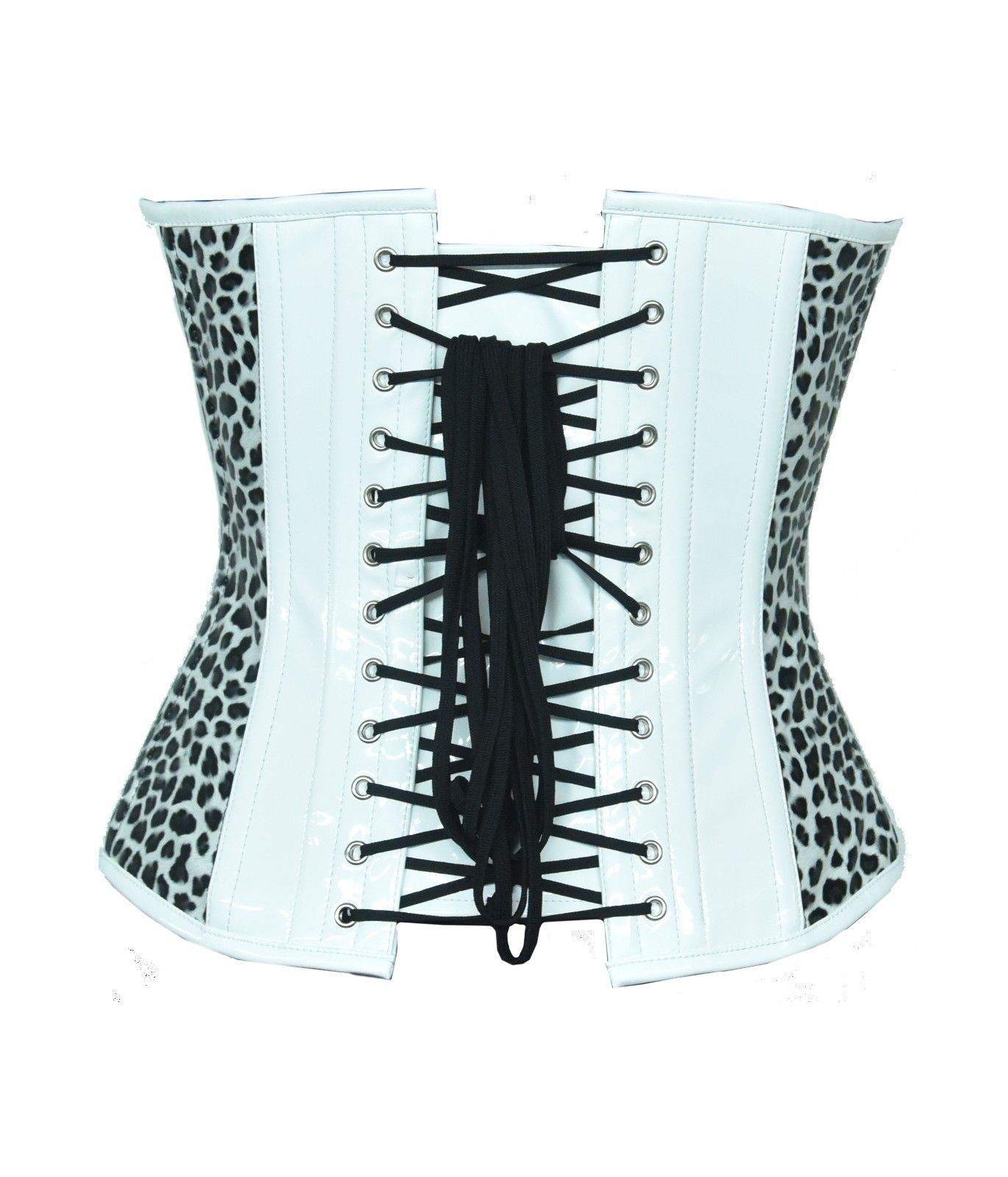 Leopard Print White PVC Leather Gothic Waist Training Basque Overbust Corset Top