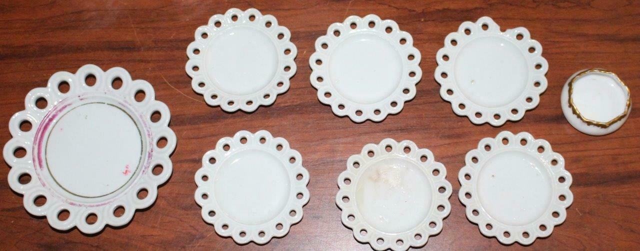 Primary image for Vintage Ironstone Child's Doll Size Dishes Lattice Edges