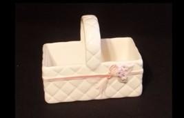 AB 672 Vintage White Ceramic Knick Knack Box with Handle - $28.45