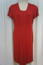 Anne Klein Dress Sz 2 Barn Red Solid Jersey Short Sleeve Business Cocktail  - $39.53