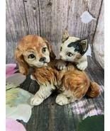 VTG Japan Enesco Ceramic Black/white Cat & Brown Dog Laying Together Fig... - $14.03