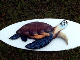 Sea Turtle Carved painted from large Palm Tree Frond, tortoise nautical ... - £60.69 GBP