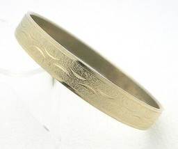 VTG Gold Tone Textured Embossed Carved Bangle Bracelet 3/8th thickness - $14.85