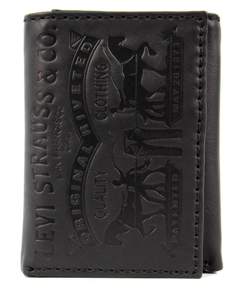 NEW NIB LEVI'S MEN'S LEATHER CREDIT CARD WALLET EMBOSSED LOGO BLACK  31LV1179