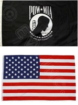 2PK 3X5FT Flags POW MIA PRISONER OF WAR MISSING IN ACTION And AMERICAN U... - $8.15
