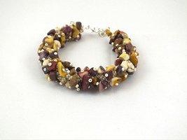 Bead crochet rope bracelet with mookaite- ivory brown mustard beaded bra... - $15.00