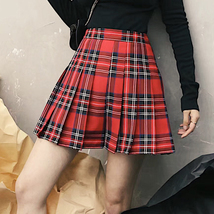 RED Plaid Skirt School Girl Red Pleated Plaid Skirt Plus Size Plaid Skirt image 1