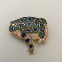 Gold Tone Frog Green Blue Enamel Filigree Brooch Pin Signed-see Pictures... - $9.49
