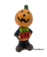 Halloween Jack-O-Lantern Pumpkin Person Bobble Head Green Bow Tie, Holdi... - £17.59 GBP