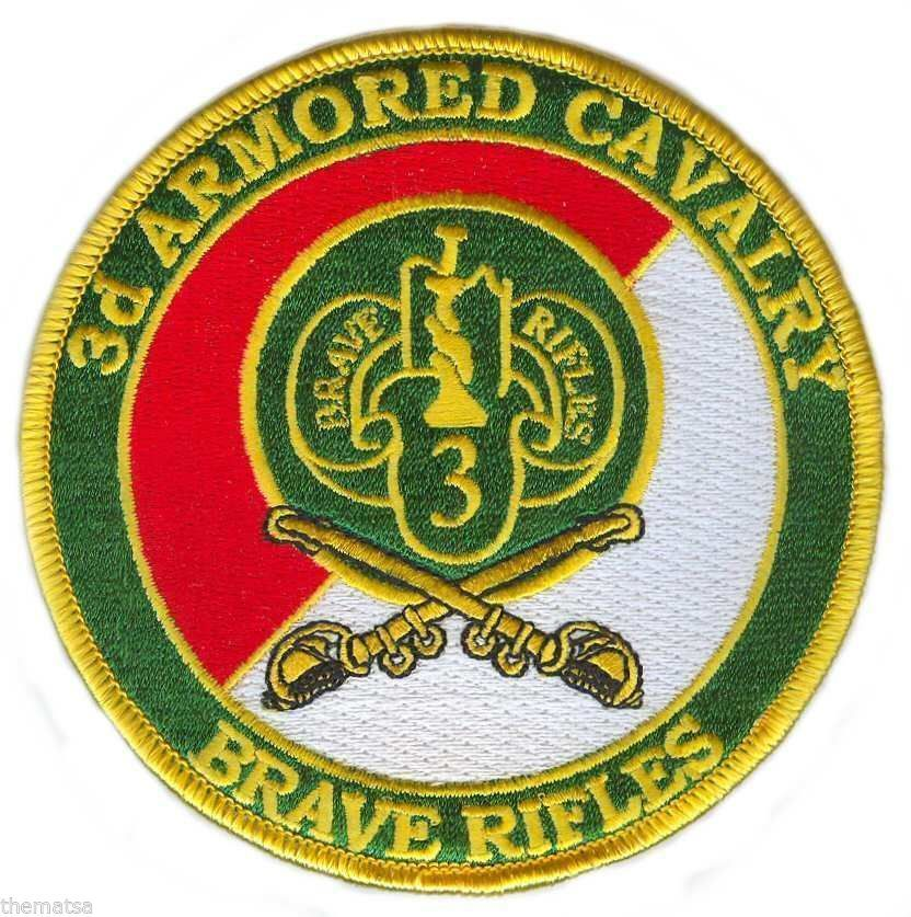 "ARMY 3RD ARMORED CAVALRY CROSSED  BRAVE RIFLES  EMBROIDERED MILITARY  4"" PATCH"