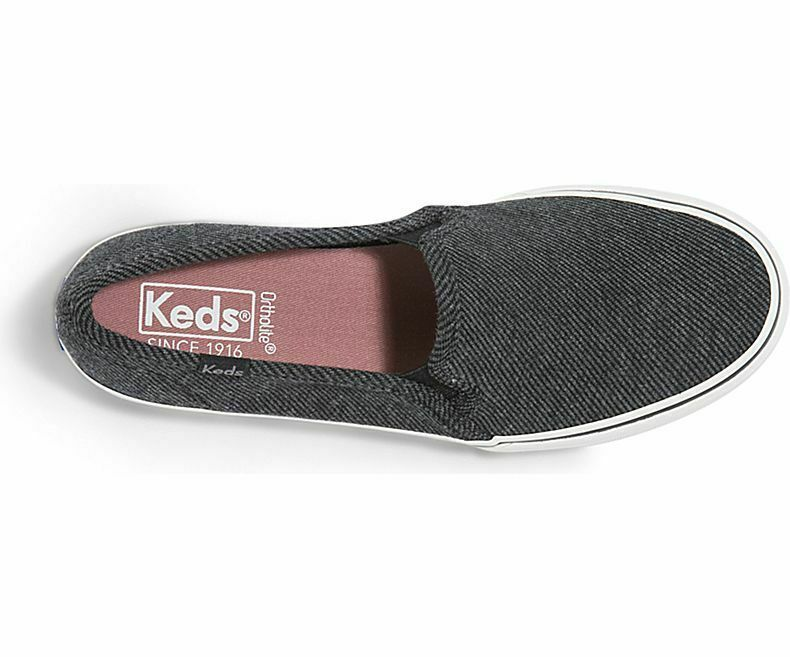 Keds WF59053 Women's Shoes Double Decker Twill Stripe Jersey Charcoal, 7 Med