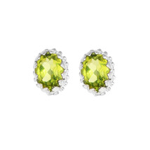 Oval Cut Peridot Gemstone 925 Sterling Silver Crown Design Stud Earring - $19.39