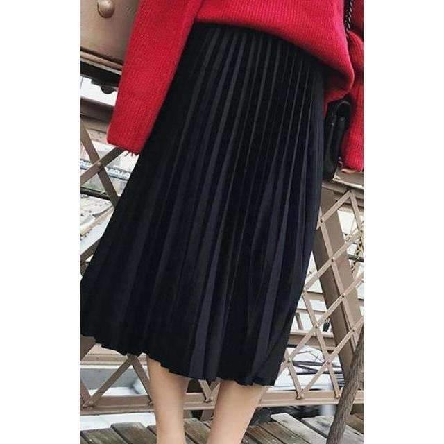Chic Pleated Velvet Women Midi Skirts