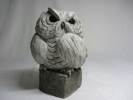 Handcrafted Cement Concrete Owl Figurine Vintage Garden Sculpture Rustic Art image 6