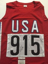 Autographed/Signed CARL LEWIS USA Track Olympics 9x Gold Jersey JSA COA ... - $129.99