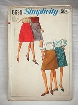 Vintage 60s Simplicity Sewing Pattern 6695 Misses Set of Skirts Waist 28... - $6.92