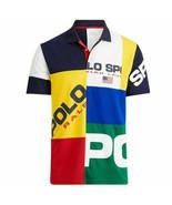 Ralph Lauren Patchwork Color Block Polo Sport logo  Shirt  MEDIUM - $87.12