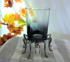 Halloween Spooky Spider Red Eyes Glass & Metal Pillar Ombre Candle Holde... - $21.03