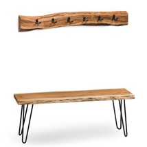 48 in. Hairpin Natural Live Edge Bench with Coat Hook Set - £338.72 GBP