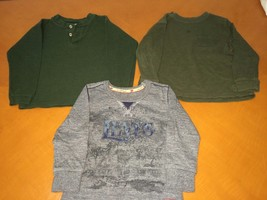 Lot of 3 Baby Boys Toddlers Long Sleeve Shirts Green Solid Levi's Grey S... - $14.84