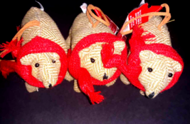 Lot 3: Brown Fabric Bear Christmas Ornament Wearing Red Scarves Scarf NE... - $6.34